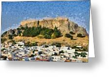 Acropolis And Village Of Lindos Greeting Card by George Atsametakis