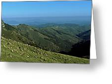 Aerial View Of Mountain Range Greeting Card