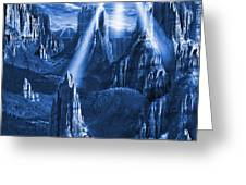 Alien Planet In Blue Greeting Card