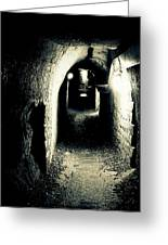 Altered Image Of A Tunnel In The Catacombs Of Paris France Greeting Card