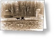 Amish Buggy And Corn Crib Greeting Card