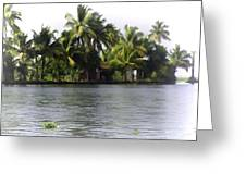 An Isolated Cottage Next To A Lake Greeting Card