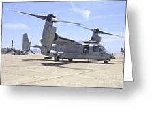 An Mv-22 Osprey Taxiing At Marine Corps Greeting Card