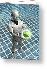 Android Holding Globe Greeting Card
