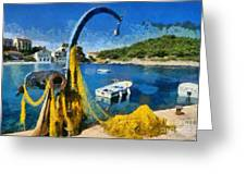 Asos Village In Kefallonia Island Greeting Card
