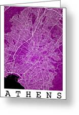 Athens Street Map - Athens Greece Road Map Art On Color Greeting Card