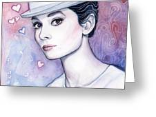 Audrey Hepburn Fashion Watercolor Greeting Card