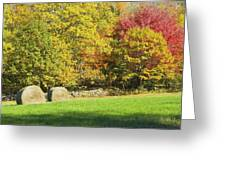 Autumn Hay Being Harvested In Maine Greeting Card