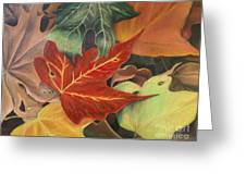 Autumn Leaves In Layers Greeting Card