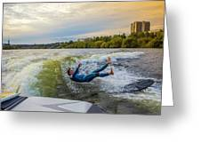 Autumn Wake Surfing Greeting Card