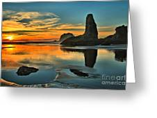 Bandon Beach Sunset Greeting Card by Adam Jewell