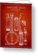 Banjo Patent Drawing From 1882 - Red Greeting Card