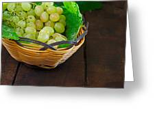 Basket Of Grapes On Rustic Wooden Table Greeting Card