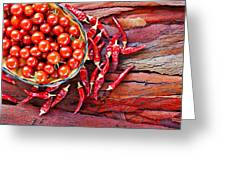 Basket Of Ripe Cherry Tomatoes And Dried Red Chillies On Rustic  Greeting Card