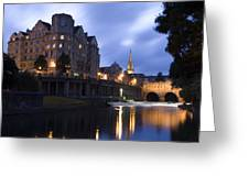 Bath City Spa Viewed Over The River Avon At Night Greeting Card