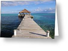 Beach Deck With Palapa Floating In The Water Greeting Card