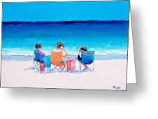 Beach Painting 'girl Friends' By Jan Matson Greeting Card