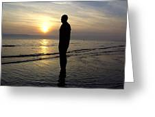 Beach Sculpture At Crosby Liverpool Uk Greeting Card