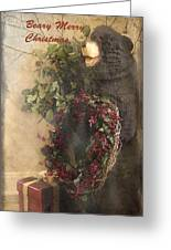 Beary Merry Christmas Greeting Card by Cindy Rubin
