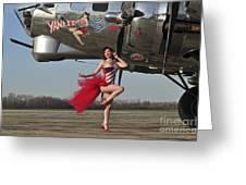 Beautiful 1940s Style Pin-up Girl Greeting Card