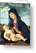 Bellini's Madonna And Child In A Landscape Greeting Card