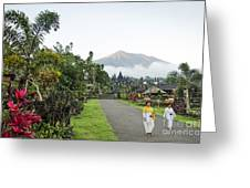 Besakih Temple And Mount Agung View In Bali Indonesia Greeting Card