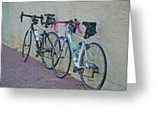 2 Bikes Against Wall Greeting Card