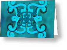 Blue Double Scroll Greeting Card