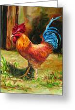 Blue-tailed Rooster Greeting Card