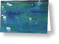 2 Boats In The Lily Pond Greeting Card