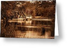 2 Boats On The Bon Secour Sepia Greeting Card