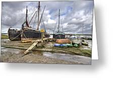 Boats On The Hard At Pin Mill Greeting Card