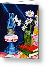 2 Books And A Lamp Greeting Card