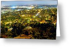 Boulder Colorado City Lights Panorama Greeting Card