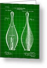 Bowling Pin Patent 1895 - Green Greeting Card