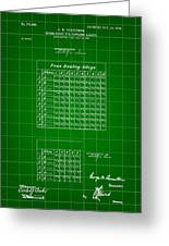 Bowling Score Sheet Patent 1904 - Green Greeting Card