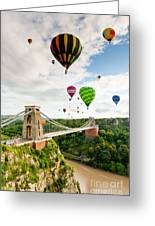 Bristol Balloon Fiesta Display Over Clifton Suspension Bridge Greeting Card