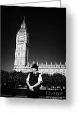 british metropolitan police office guarding the houses of parliament London England UK Greeting Card