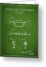 Bugle Call Instrument Patent Drawing From 1939 - Green Greeting Card