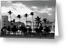 Buildings Lit Up At Dusk, Ocean Drive Greeting Card