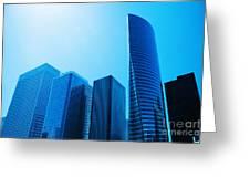 Business Skyscrapers Greeting Card by Michal Bednarek