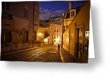 Calcada Da Gloria Street At Night In Lisbon Greeting Card