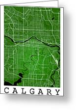 Calgary Street Map - Calgary Canada Road Map Art On Colored Back Greeting Card
