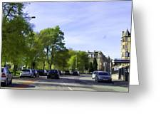Cars On A Street In Edinburgh Greeting Card