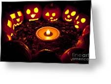 Carved Pumpkins With Pumpkin Pie Greeting Card