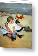 Cassatt's Children Playing On The Beach Greeting Card