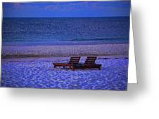 2 Chairs On A Blue Morning  Greeting Card