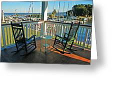 2 Chairs On The Fairhope Yacht Club Porch Greeting Card