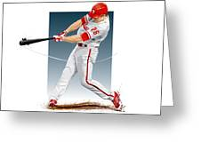 Chase Utley Greeting Card by Scott Weigner