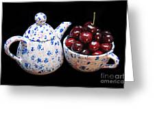 Cherries Invited To Tea Greeting Card